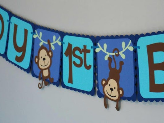 Monkey Birthday Banner/ Monkey Party Supplies/ Boy Monkey First Birthday/ Monkey Party Banner/ Chunky Monkey Party/ Jungle Theme Birthday