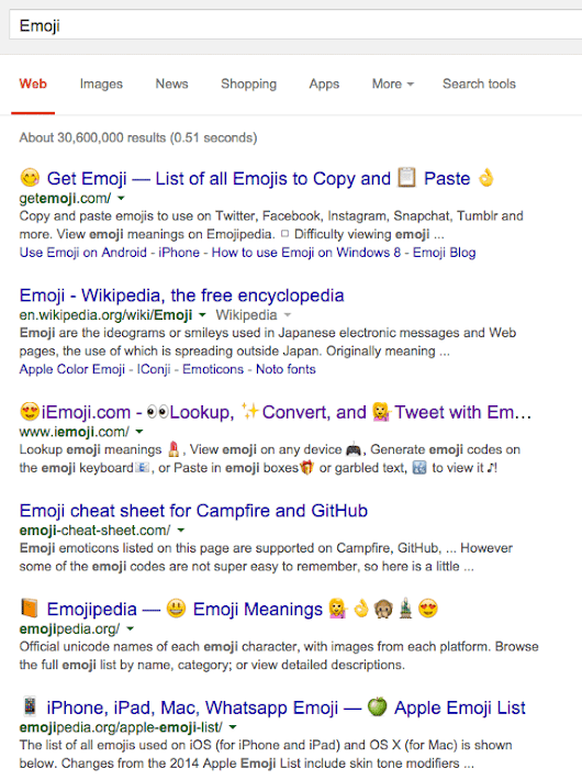 Emoji Characters Showing On Google Desktop Search Results: Cheers 🍻