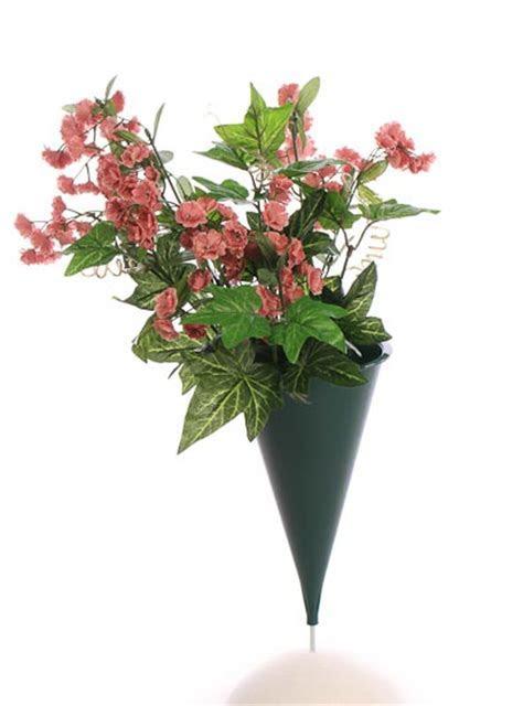Green Plastic Cone Cemetery Vase   Floral Design