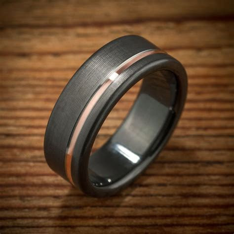 Offset Rose Gold Stripe Black Zirconium Ring   Gold