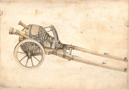 medieval cannons on gun carriage