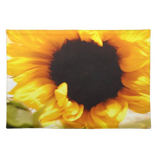 Bright Yellow Sunflower Kitchen Placemat Photo Cloth Placemat