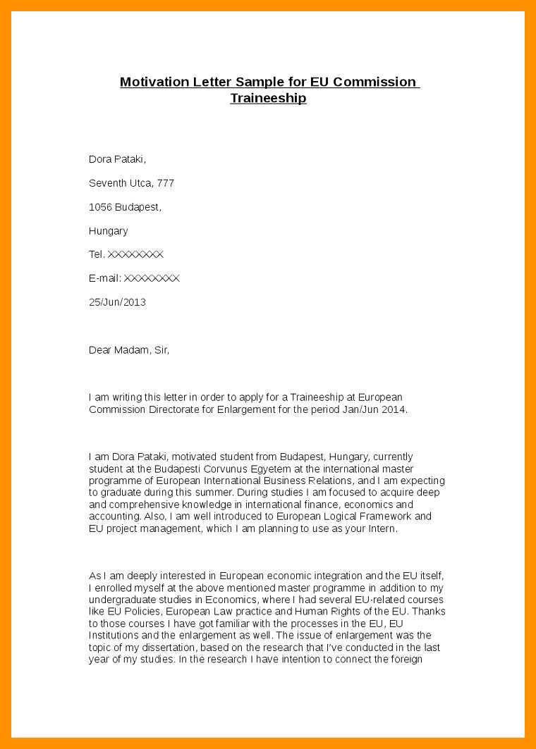 Sample Letter Of Motivation For Internship