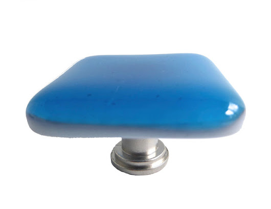 Decorative Fused Glass Cabinet Door Knobs, Bright Turquoise, Satin Nickel - Contemporary - Cabinet And Drawer Hardware - by BPR Designs