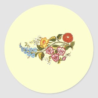 horizontal flowers1 round stickers