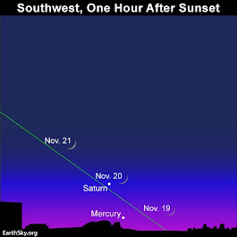 Young moon and Mercury after sunset | EarthSky.org