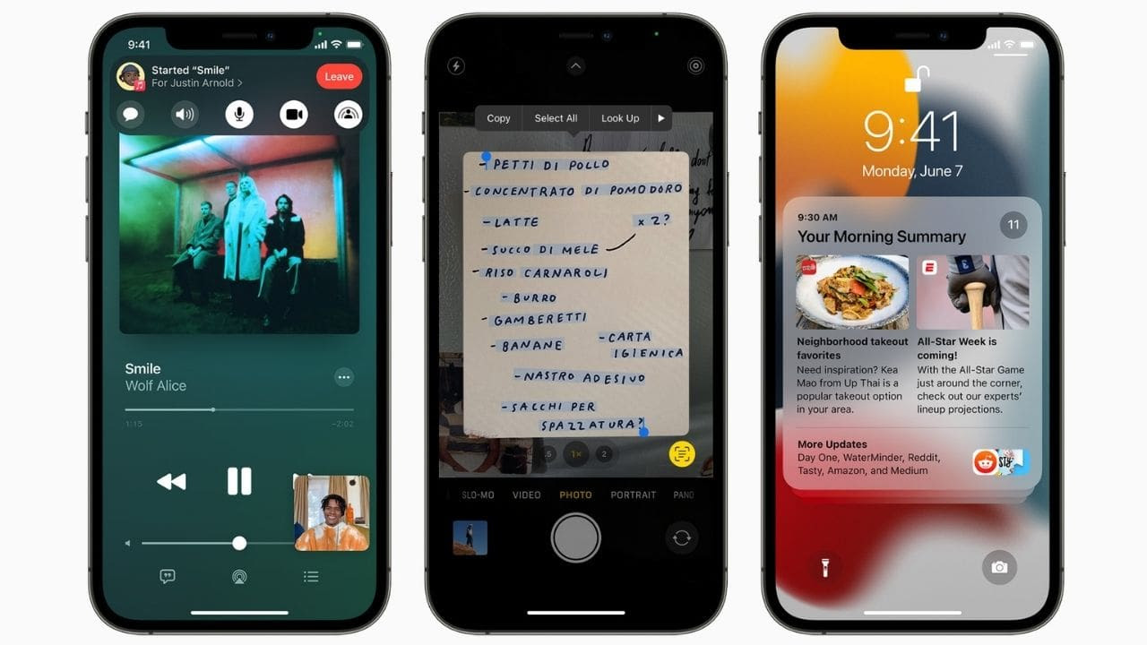 iOS 15 gets notification summary, new focus mode, SharePlay, and more. Image: Apple