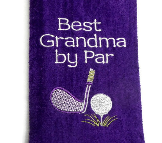 golf towel, Best Grandma, by Par, gift for her, personalized golf, mom mommy, aunt gram gift, custom name, embroidered towel, birthday golf