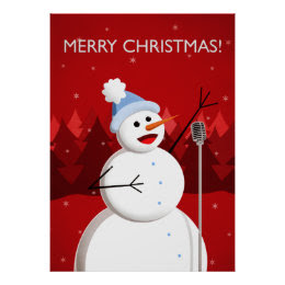 Happy Singing Snowman Christmas Print
