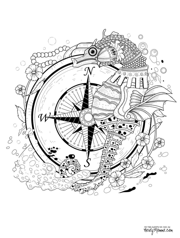 Ein Seepferdchen vor einem Kompass Verziert mit Blüten und Gischt Malvorlage als Bild zum Ausdrucken bei Nerdy Mamma Sprache englisch