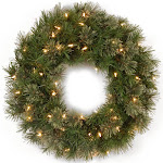 "24"" Atlanta Spruce Artificial Christmas Wreath - Clear Lights"