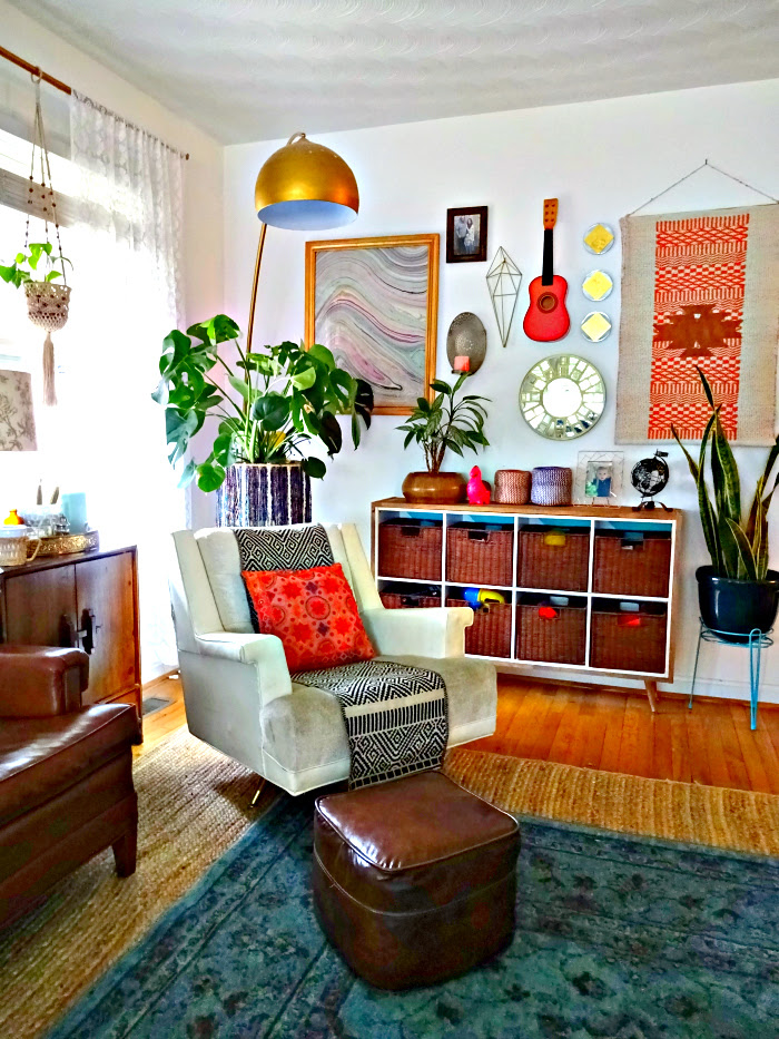 eclectic interiors bohemian living room with collected treasures and thrifted furniture