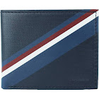 New Tommy Hilfiger Men's Premium Leather Double Billfold Wallet Navy 31TL130012