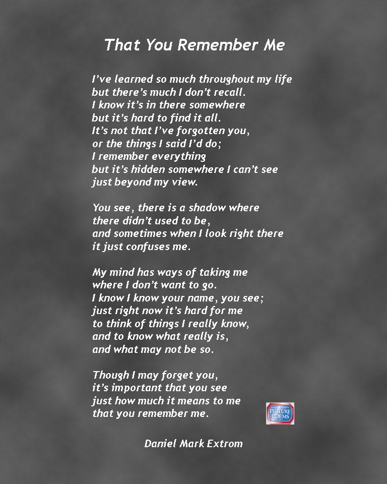 That You Remember Me A Downloadable Poem About Alzheimers Disease