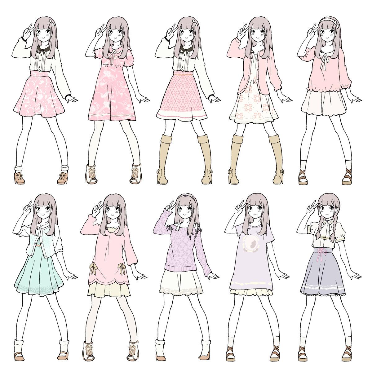 الجانب القطري عشرة معادلات الحركة cute clothes for drawing