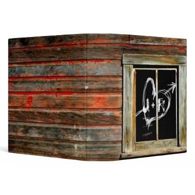 Rustic Barn Wood w Graffiti Window Wedding Album 3 Ring Binder by