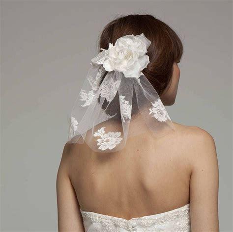 Short Lace Veils   short lace bridal veil with silk flower