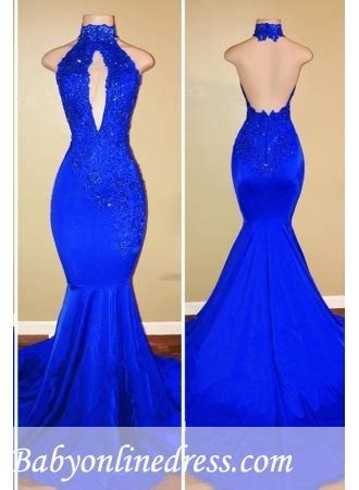 Royal Blue Mermaid Prom Dresses   Halter Backless Evening