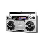 Victrola - Boombox with AM/FM Radio - Silver