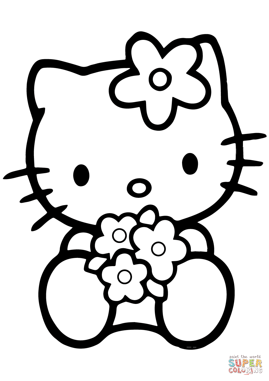 Hello Kitty with Flowers coloring page | Free Printable ...