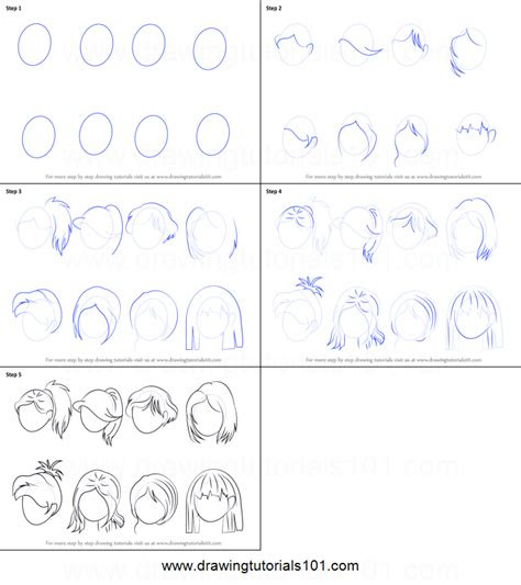 draw anime hair female printable step  step