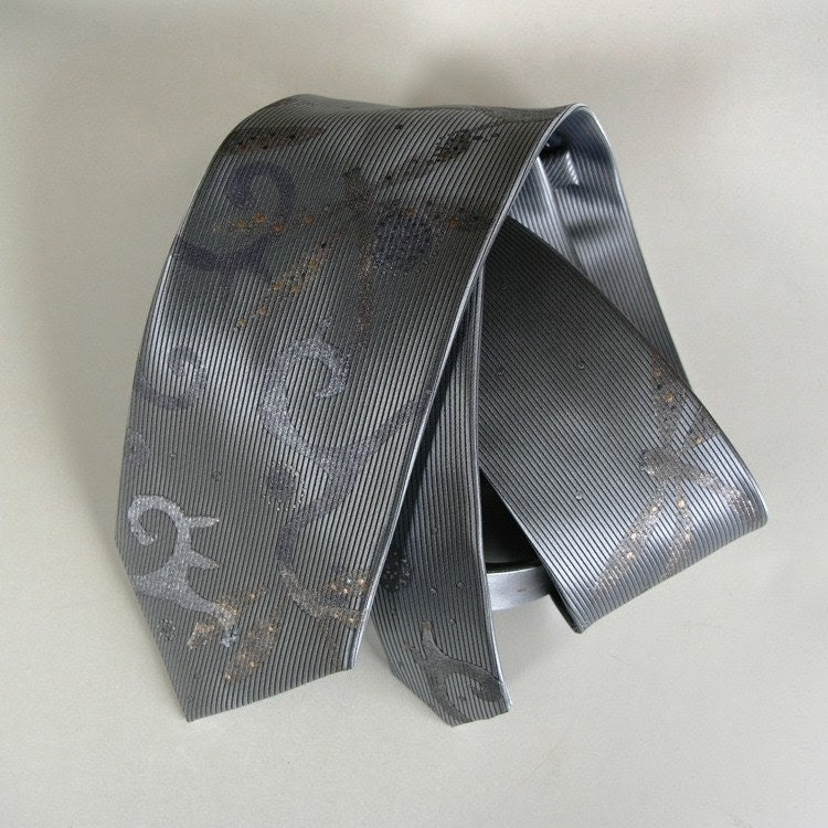 Necktie Exclusive Dragonfly Design Light Silver Grey Color Handpainted One Of A Kind And Ready to Ship
