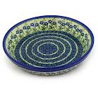 Polish Pottery Pie Dish 10 inch Blue Daisy Circle Pattern by Ceramika Artystyczna