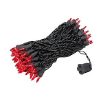 Novelty Lights 100 Light Christmas Mini Light Set, Black Wire, 50' Long, Red