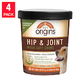 Pet Origins Hip & Joint Mega Soft Chews for Dogs 50-Count, 4-Pack