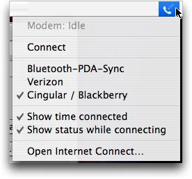 Mac OS X: Barra de menú del menú del módem