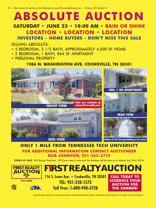 FIRST REALTY AUCTION - SATURDAY, JUNE 23rd @ 10:00 CT - AuctionsAcrossTN.com