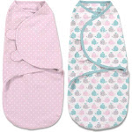 SwaddleMe Original Swaddle 2 Pack, Small, Whales Pink/Stars