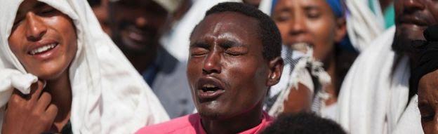 Oromo mourners in Ethiopia - December 2015