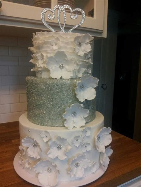 White, wedding, Floral and sugar crystal made by me for my