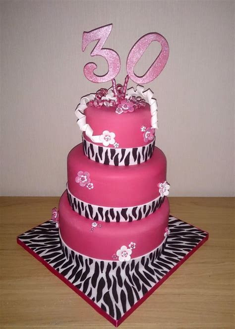 3 Tier Zebra Print 30th Birthday Cake « Susie's Cakes