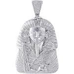 Diamond Egyptian Pharaoh King Tut Mens Pendant 925 Sterling Silver Charm 0.70 Ct