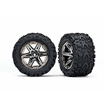 Traxxas 6774X Tires & wheels assembled glued (2.8') (RXT black chrome wheels Talon Extreme tires foam inserts) (2WD electric rear) (2) (TSM rated)