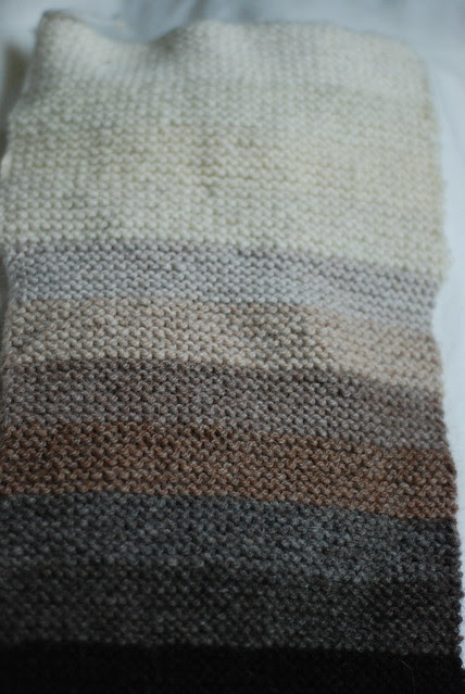 Naturally coloured wool and alpaca yarns gradient progression stripes