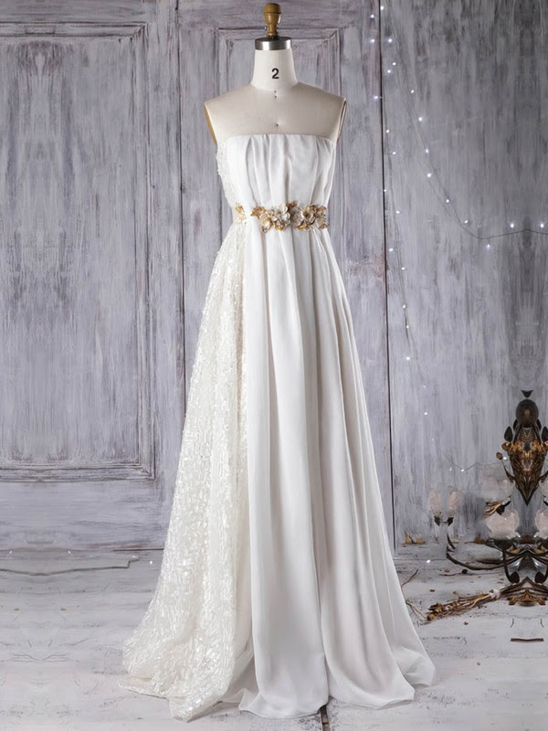 Lace Chiffon Strapless Empire Floor-length with Sashes / Ribbons Wedding Dresses #UKM00022961