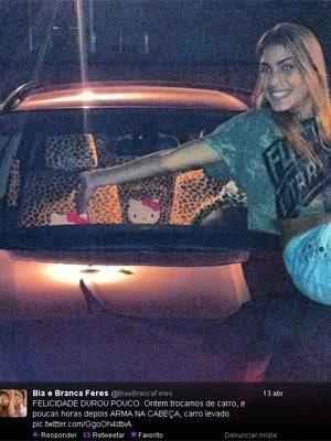 Bia e Branca tiveram o carro roubado na madrugada de sábado (13). (Foto: Reprodução / Twitter)