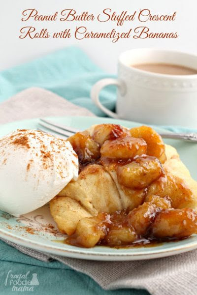 Peanut Butter Stuffed Crescent Rolls with Caramelized Bananas