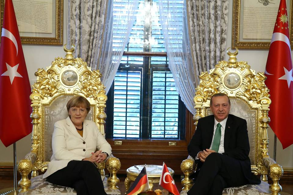 German Chancellor Angela Merkel and Turkish President Recep Tayyip Erdogan  meet in Istanbul, Oct. 18.