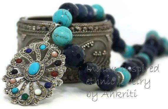 Blue agate with multicolored pendant