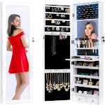 Best Choice Products Hanging Mirror Jewelry Armoire Cabinet for Door or Wall Mount w/ LED Lights, Cosmetics Tray, Lock