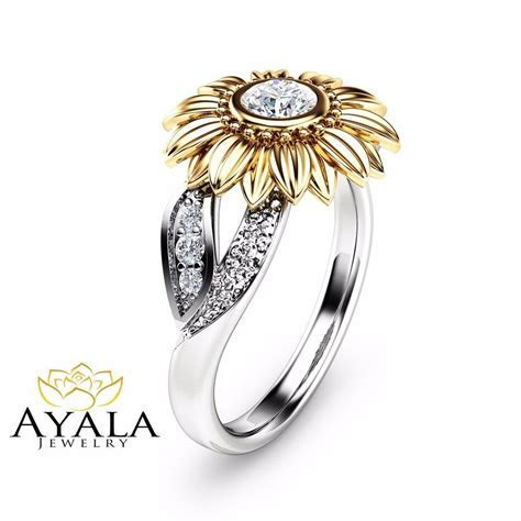 Unique Engagement Ring Natural Diamond Ring in 14K Two