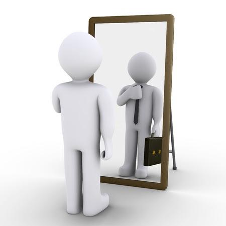 3d persona mirando en el espejo y ve a sí mismo como hombre de negocios Foto de archivo - 15549015