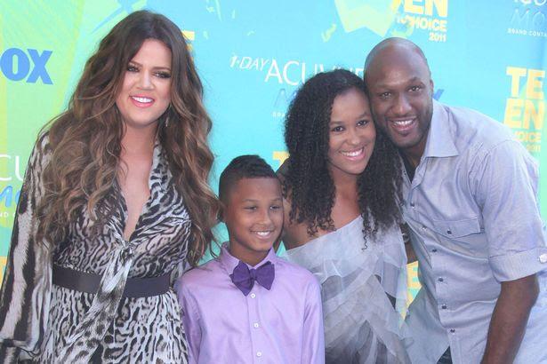Lamar Odom with Khloe Kardashian, Lamar Odom Jr and Destiny Odom, Lamar Odom Jr