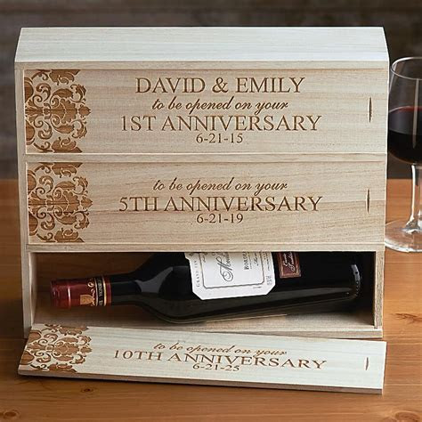 Anniversary Wooden Wine Box   Personal Creations   things