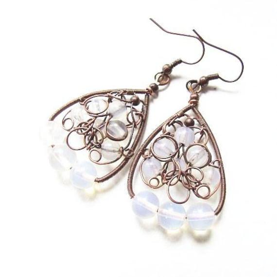 winter earrings - north pole beauty - amazing oxidized copper earrings with opal beads