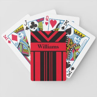 Red & Black Stripes Chevrons, Your Name card deck